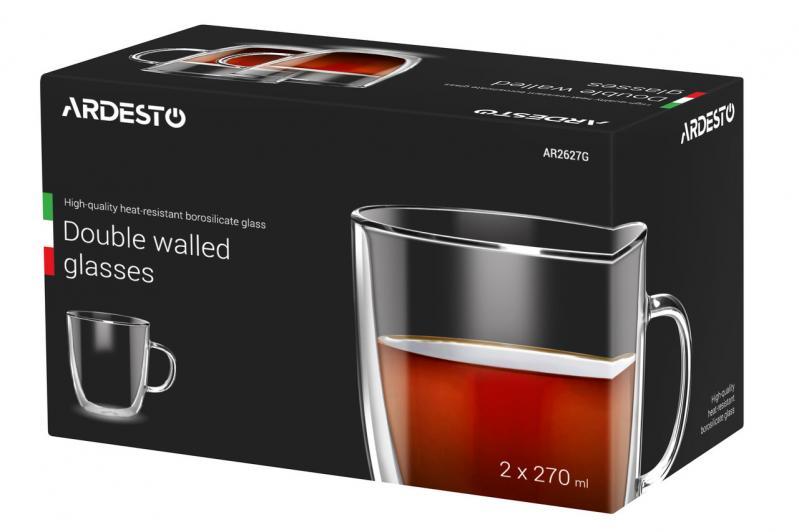 Набор чашек для латте с двойными стенками Ardesto 270 мл 2 шт. (AR2627G) - фото 3