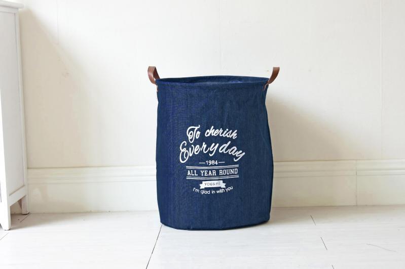 Кошик для білизни Berni Home Кожен день тканинний з ручками Синій (48662) - фото 2