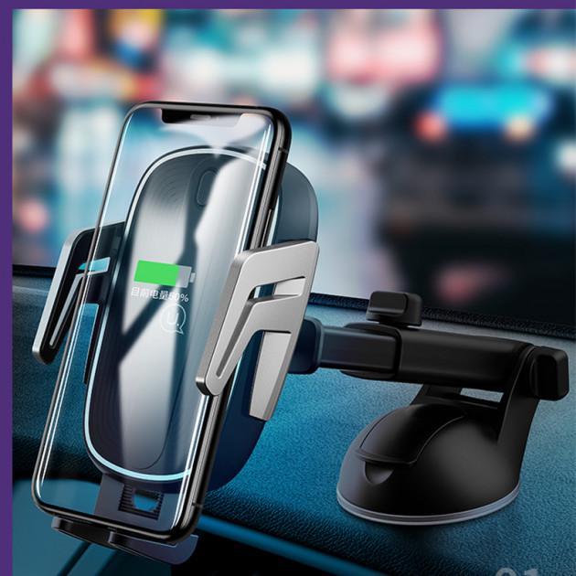 Тримач для телефону Usams US-CD101 Automatic Touch Induction з бездротовою зарядкою Black/Silver - фото 3