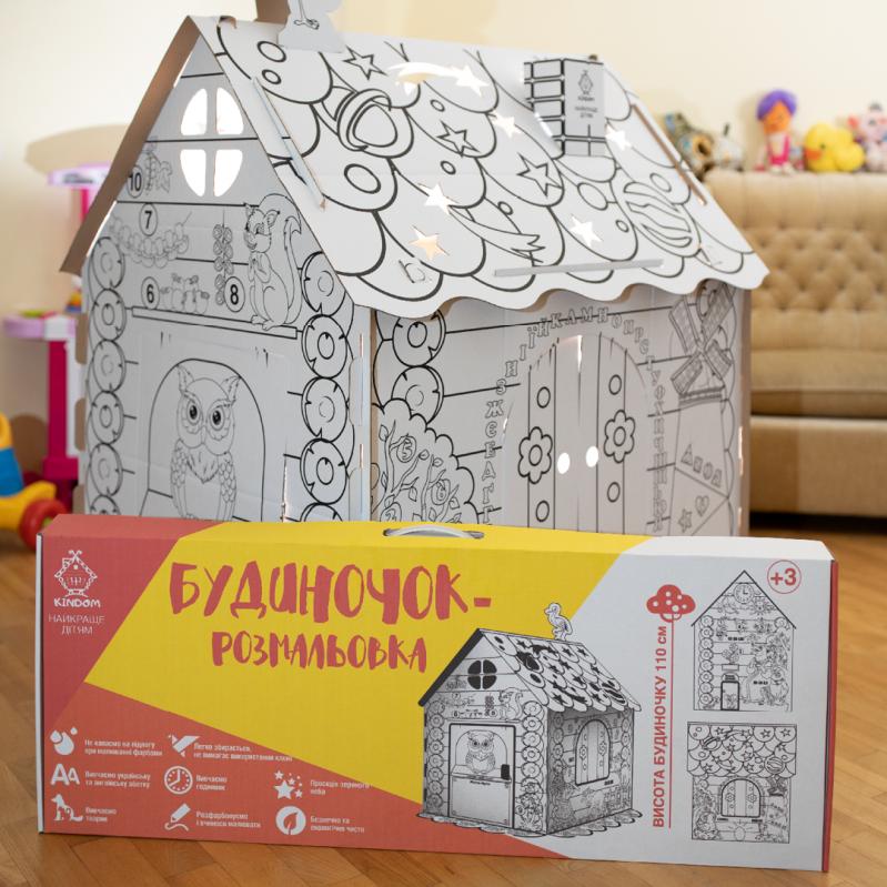 Дитячий картонний будиночок розмальовка Kindom 110х98 см - фото 3