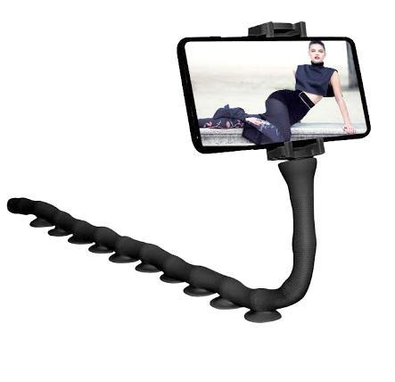Тримач гнучкий для телефону Cute Worm Lazy Holder з присосками Чорний - фото 2