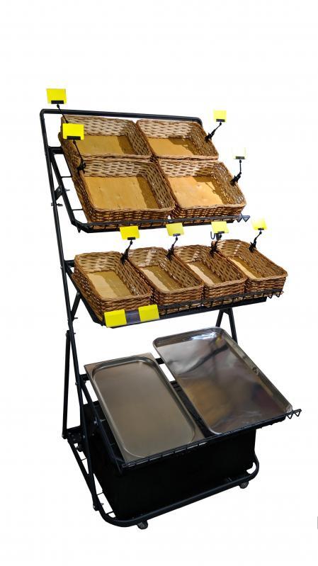 Овочевий стелаж на колесах H165/L80/D100 cm Тип-7 Графіт - фото 4