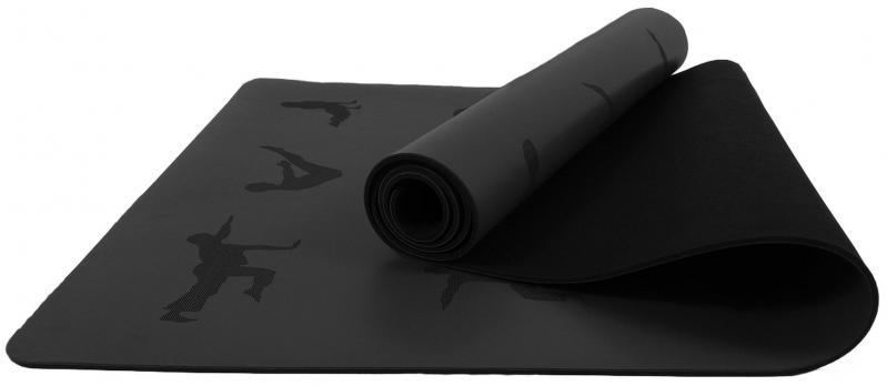 Килимок для йоги EasyFit каучук 5 мм Чорний (EF-RB5BK) - фото 1