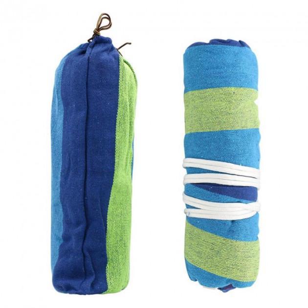 Гамак подвесной с каркасом и зонтом 240 х 100 Синий с зелёным - фото 5