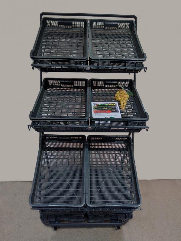 Овочевий стелаж на колесах H165/L80/D100 cm Тип-7 Графіт - фото 3