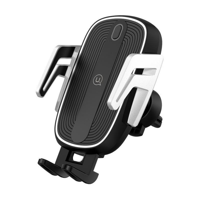 Автомобільний тримач на дефлектор з бездротовою зарядкою QI для телефона, смартфона USAMS US-CD100 - фото 1