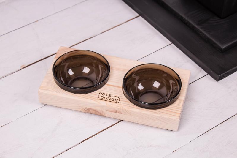 Підставка з мисками для собак і котів Pets Lounge 2х200 мл Black - фото 1