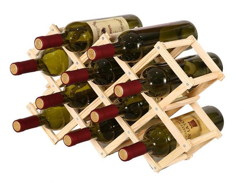 Винний стелаж для пляшок вина з натурального дерева складаний (1009-139-02) - фото 1