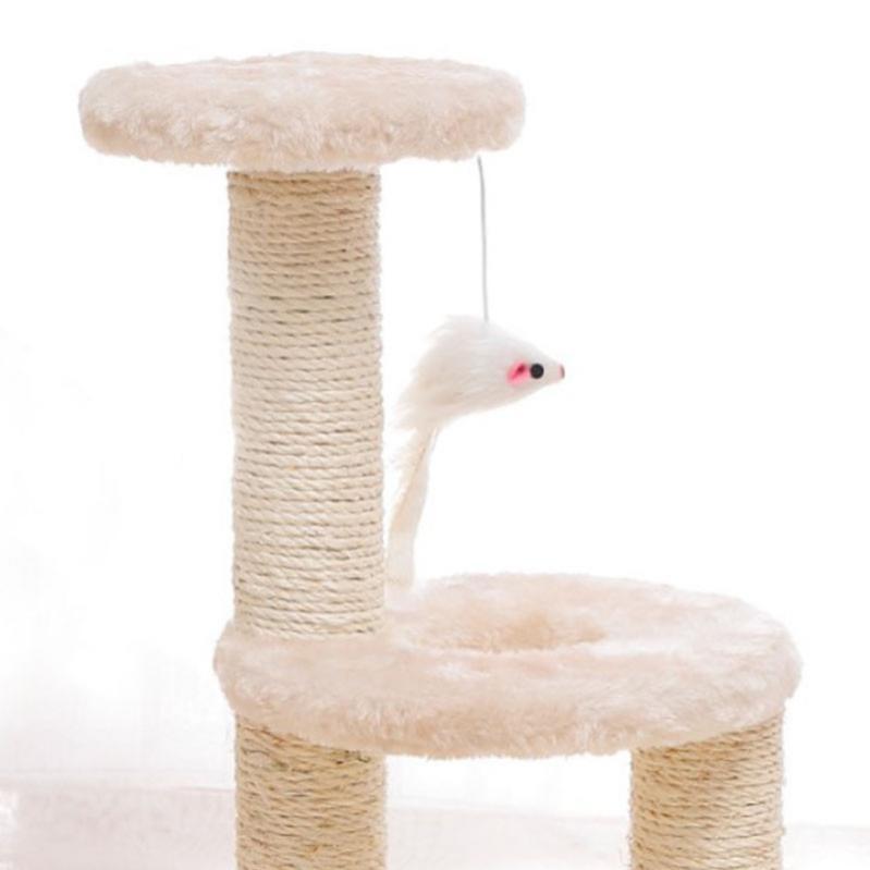 Кігтеточка для кота з полицями і іграшкою Taotaopets 0072203 41x20x18,5 см Beige - фото 1
