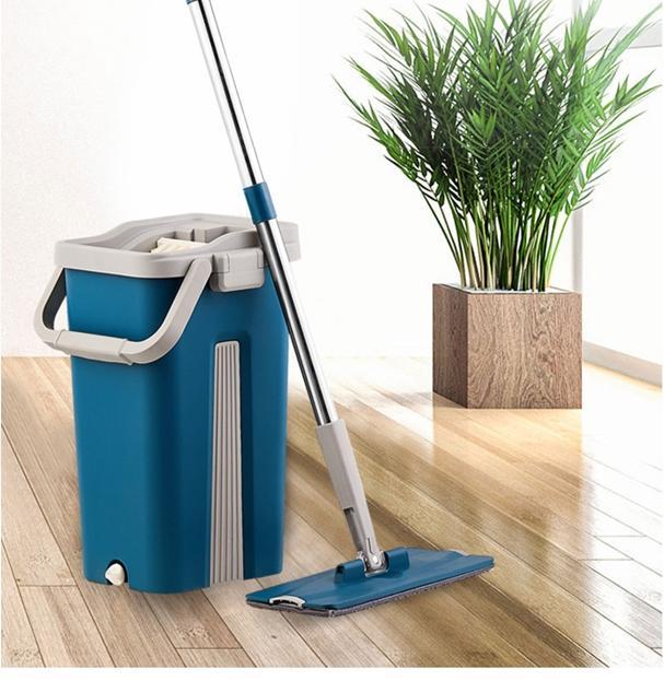 Швабра і відро з автовіджимом Scratch Cleaning Mop Original Синій - фото 9