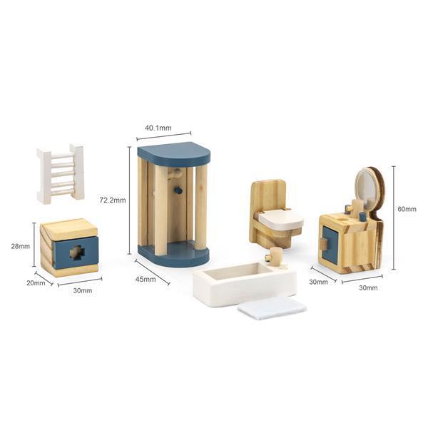 Дерев'яні меблі для ляльок Viga Toys PolarB Ванна кімната (44039) - фото 4