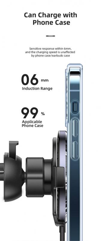 Автомобільний магнітний тримач USAMS CD164  15W 3A  з бездротовою зарядкою QI - фото 2