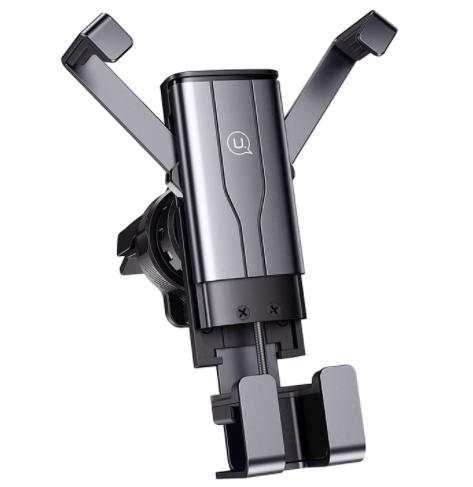 Автомобільний тримач 360 з затиском на дефлектор для телефона, смартфона в машину  USAMS US-ZJ060 Чорний - фото 1