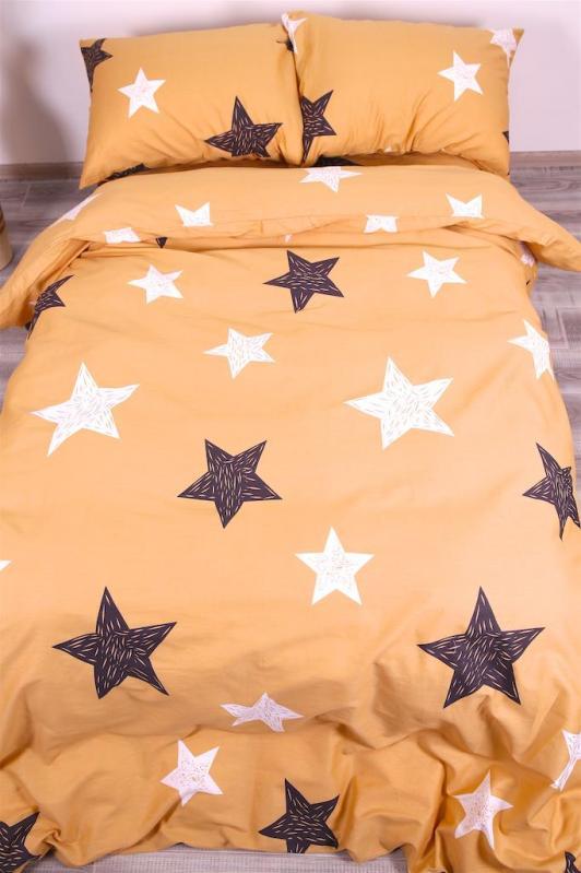 Простынь Двойная Brettani Звезды на оранжевом 180х220 см Сатин S-082KB - фото 1