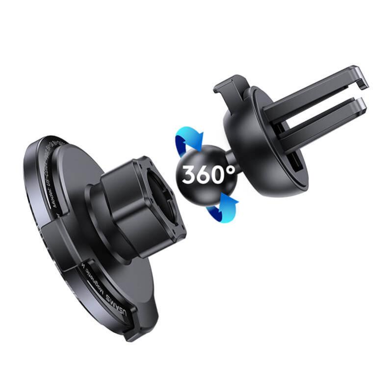 Автомобільний магнітний тримач USAMS CD164  15W 3A  з бездротовою зарядкою QI - фото 3