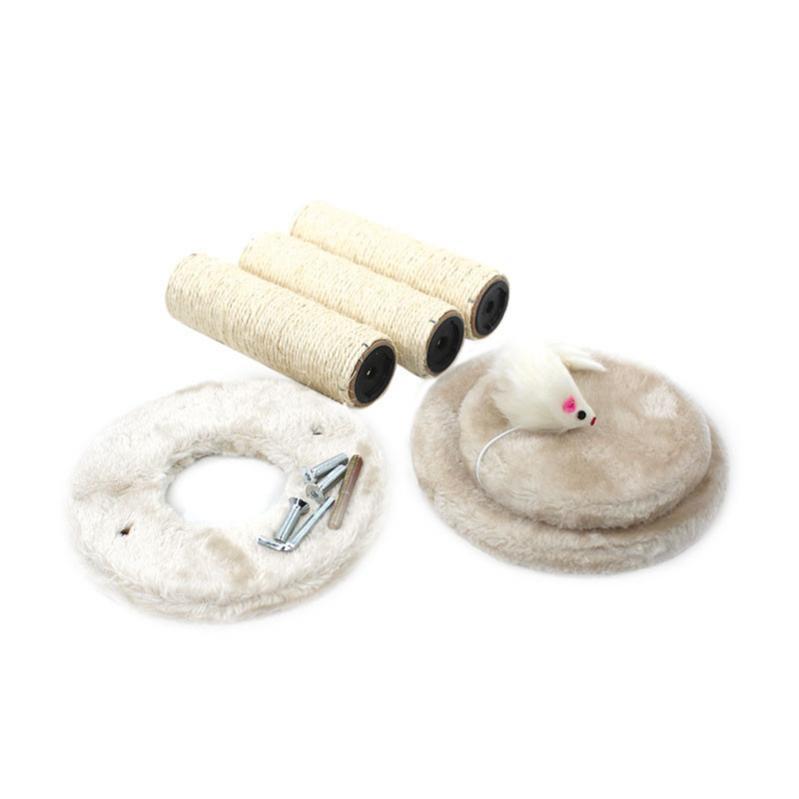 Кігтеточка для кота з полицями і іграшкою Taotaopets 0072203 41x20x18,5 см Beige - фото 4