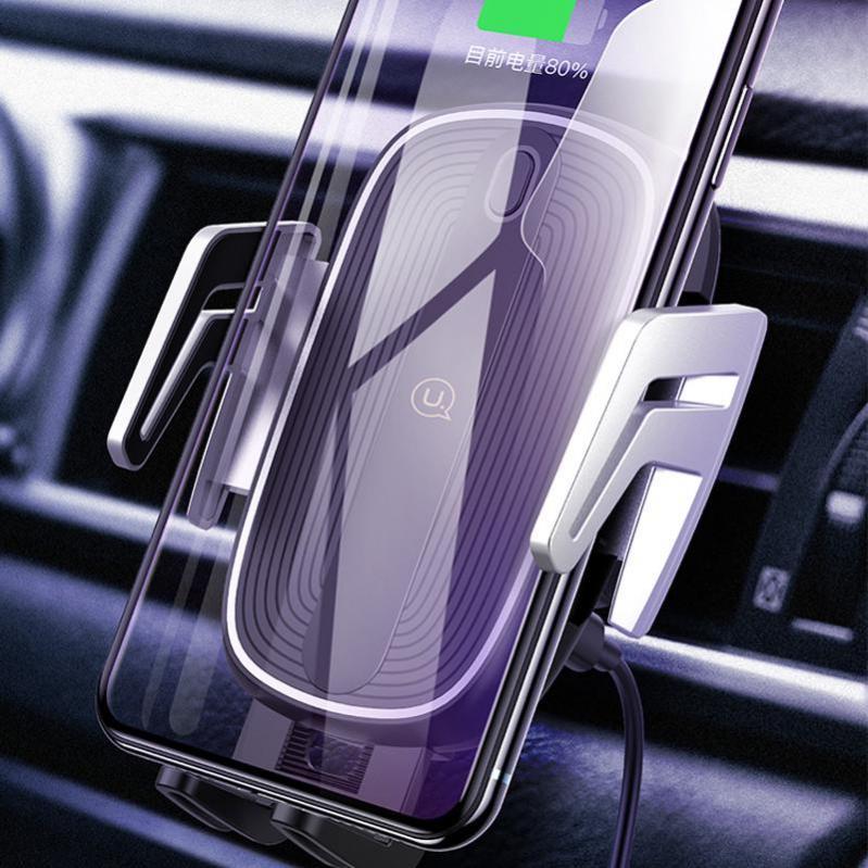 Автотримач з бездротовою зарядкою Usams US-CD100 Automatic Touch Induction Air Vent Black/Silver (4339) - фото 2