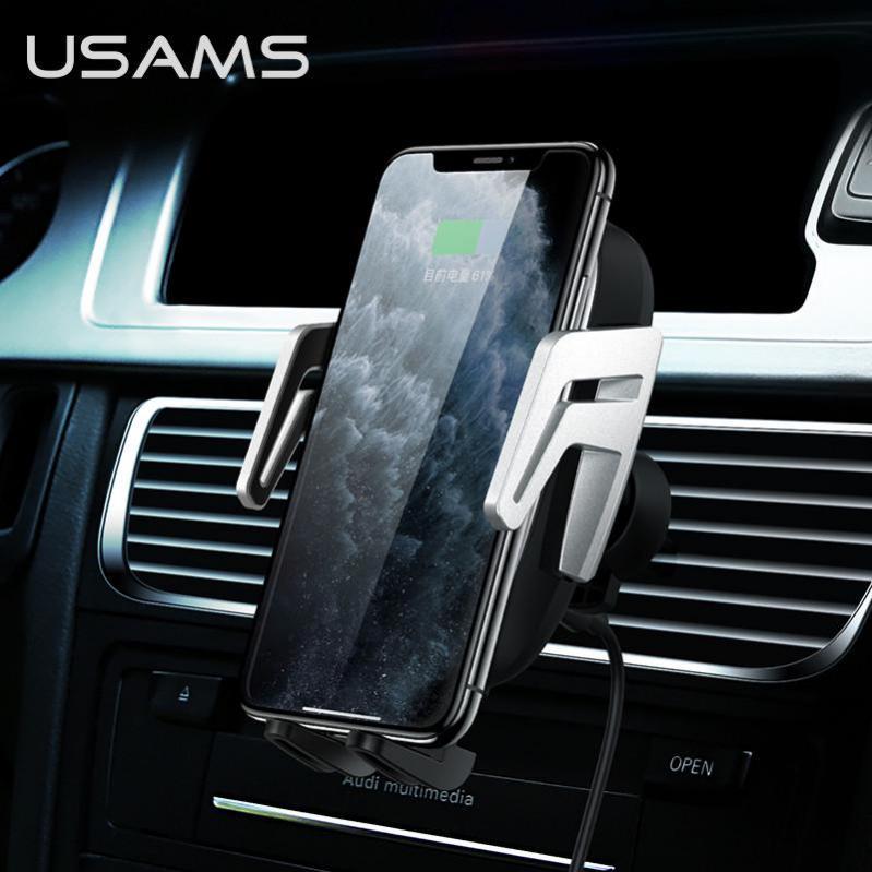 Автомобільний тримач на дефлектор з бездротовою зарядкою QI для телефона, смартфона USAMS US-CD100 - фото 8