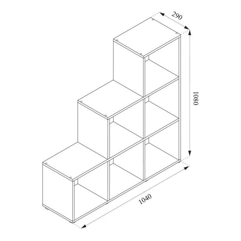 Стелаж треугольный 105x108 Vicco Feacher 6 ячеек Сонома - фото 2
