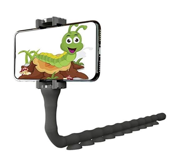Тримач гнучкий для телефону Cute Worm Lazy Holder з присосками Чорний - фото 1