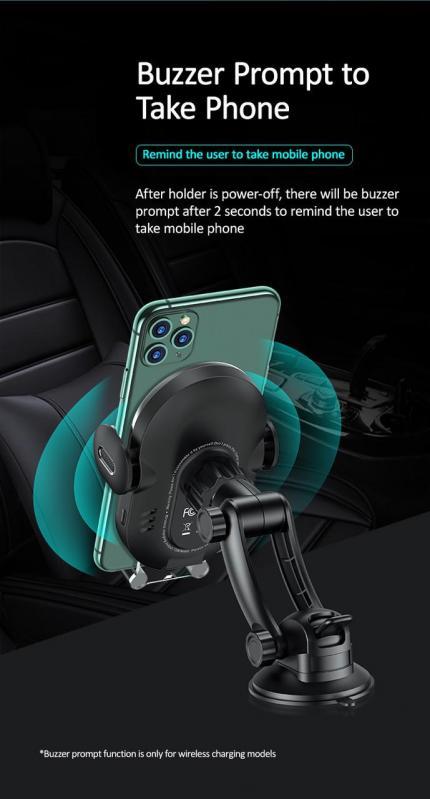 Автомобільний тримач з бездротовою зарядкою QI на панель USAMS US-CD131 Чорний - фото 7