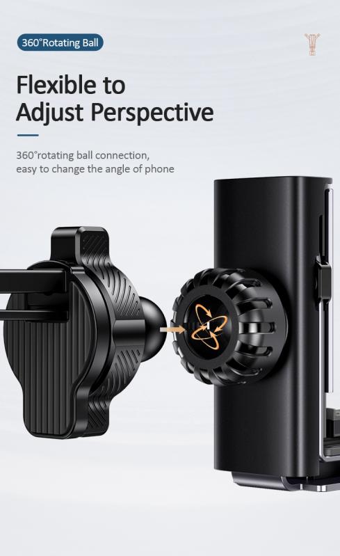 Автомобільний тримач 360 з затиском на дефлектор для телефона, смартфона в машину  USAMS US-ZJ060 Чорний - фото 6