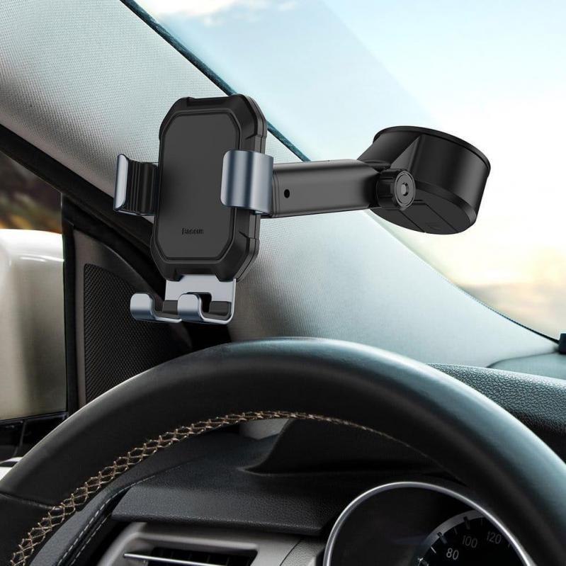 Тримач для мобільного телефона Baseus Tank gravity car mount holder з присоскою Чорний (SUYL-TK01) - фото 5