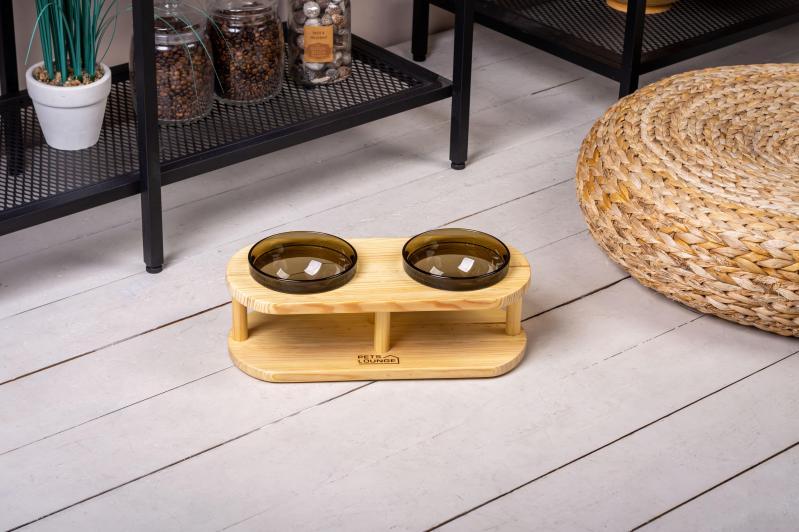 Підставка з мисками для собак і котів Pets Lounge Bowl 2х200 мл Black - фото 2