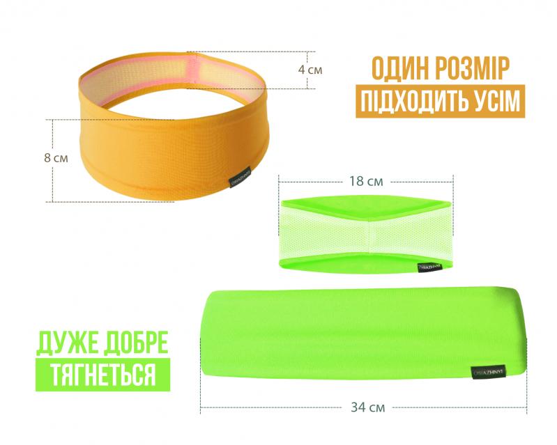 Набор спортивных повязок OSIAZHNYI 2 шт. Оранжевый/Зеленый - фото 6