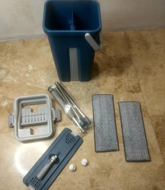 Швабра і відро з автовіджимом Scratch Cleaning Mop Original Синій - фото 7