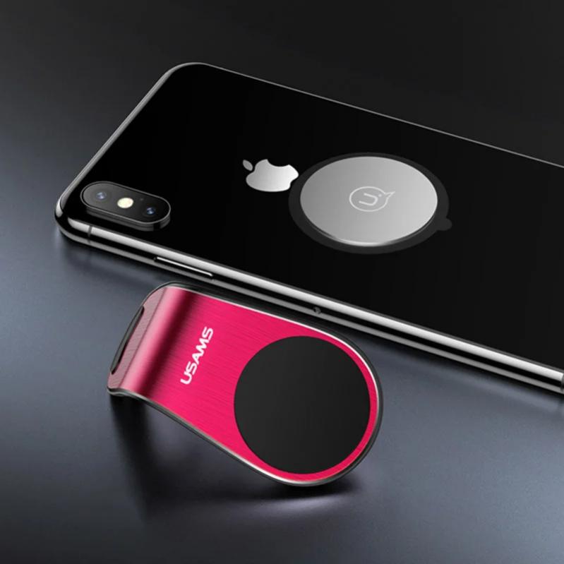 Автомобільний магнітний тримач на дефлектор для телефона в машину USAMS US-ZJ046 Червоний - фото 2