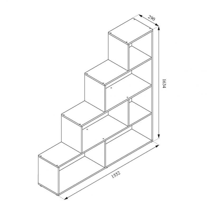 Стелаж трикутний 155x163 Vicco Asym 6 комірок Білий - фото 3