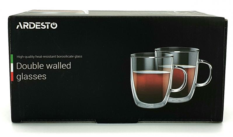 Набор чашек для латте с двойными стенками Ardesto 270 мл 2 шт. (AR2627G) - фото 2
