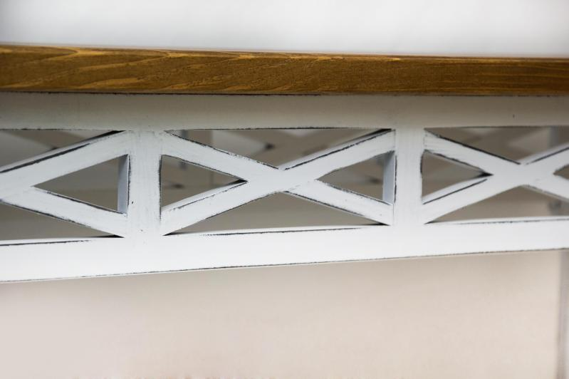 Консольный столик Древоделя Прованс 6 77х105х40 см Белая патина/Орех (60723) - фото 4