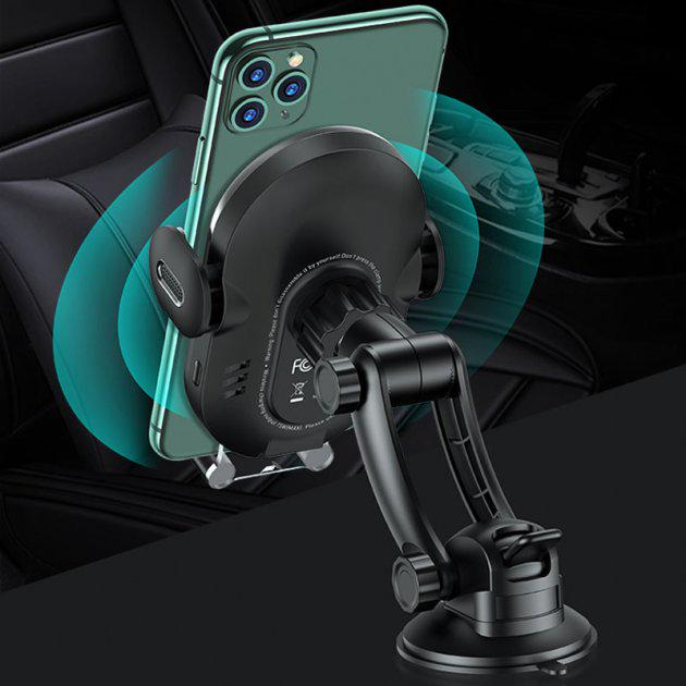 Тримач USAMS with wireless charger Automatic Coil Induction Center console US-CD131 15 Вт Black - фото 3