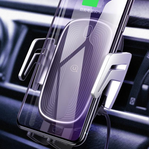 Автомобільний тримач на дефлектор з бездротовою зарядкою QI для телефона, смартфона USAMS US-CD100 - фото 7
