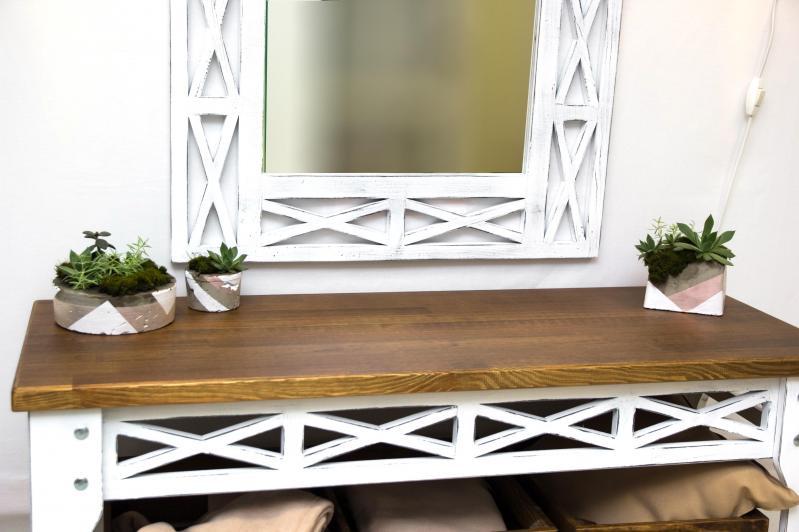 Консольный столик Древоделя Прованс 6 77х105х40 см Белая патина/Орех (60723) - фото 3