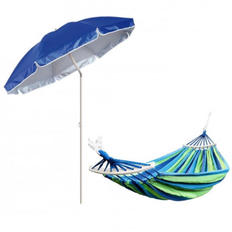 Гамак подвесной с каркасом и зонтом 240 х 100 Синий с зелёным - фото 1