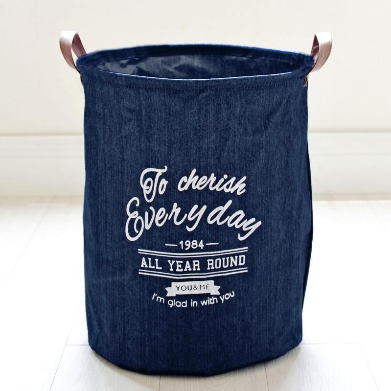 Кошик для білизни Berni Home Кожен день тканинний з ручками Синій (48662) - фото 1