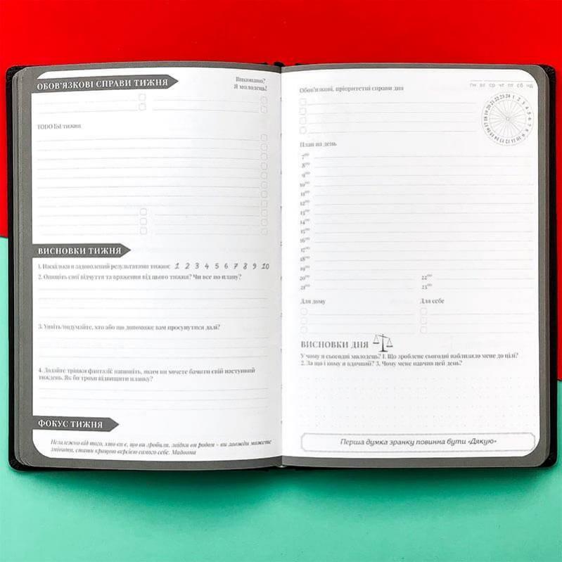 Планер-щоденник LifeFLUX My perfect day українська мова А5 Графітовий/Червоний - фото 5