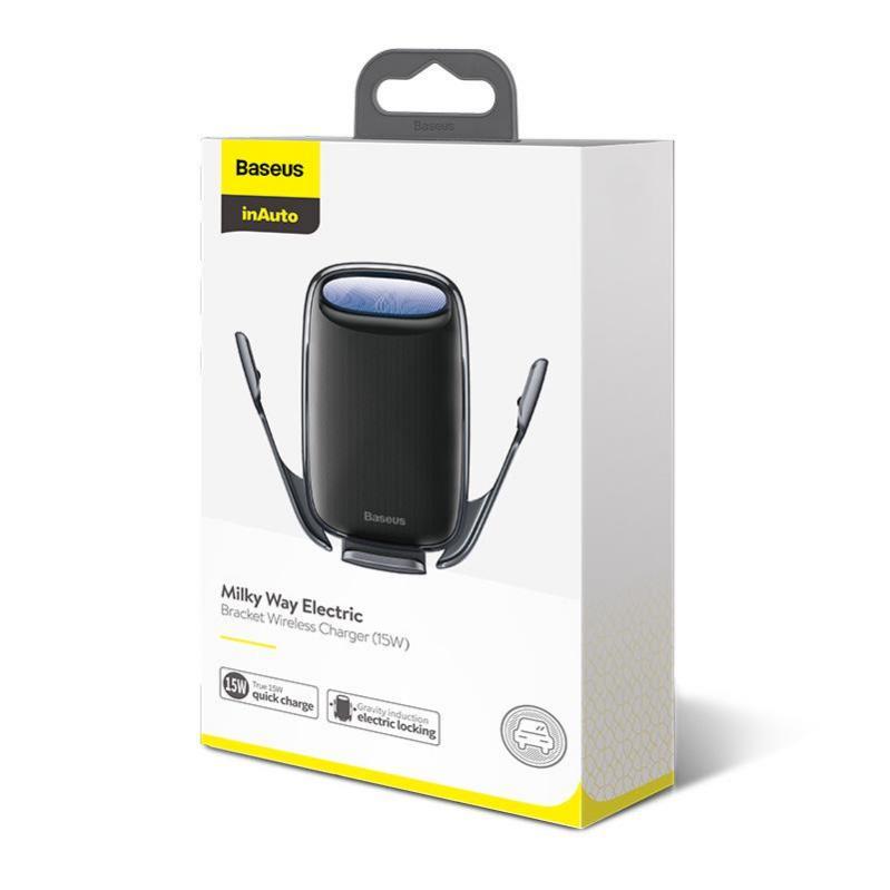 Автомобільний тримач Baseus Milky Way Electric Bracket Wireless Charger 15W Black - фото 6