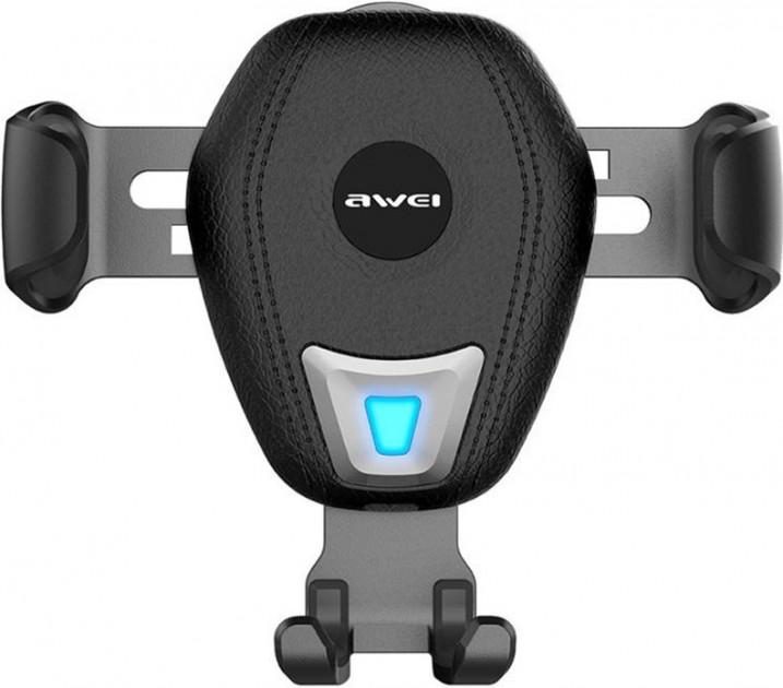 Автомобільний тримач з бездротовою зарядкою QI на дефлектор AWEI CW2 10W Чорний - фото 2