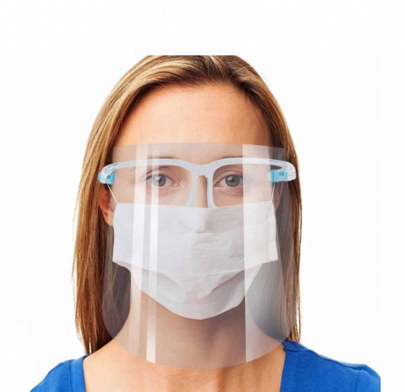 Защитный экран щиток с очками Face Shield glasses прозрачный для лица - фото 2
