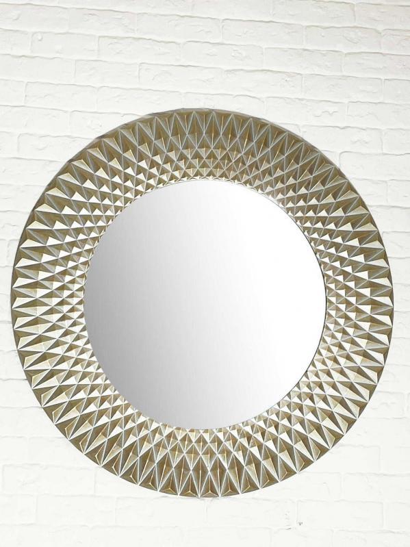 Зеркало настенное VELKA Diamond в МДФ раме цвет сахара 80 см - фото 2