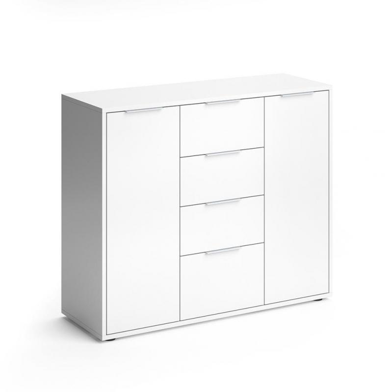 Шкаф-комод 100х35 Vicco Leon Белый - фото 1