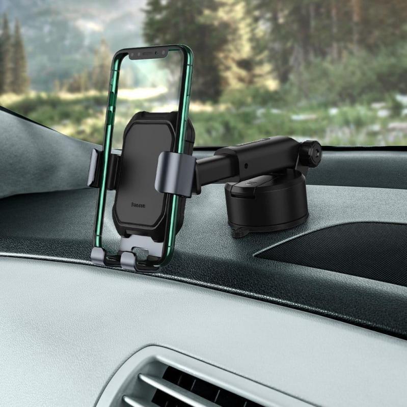 Тримач для мобільного телефона Baseus Tank gravity car mount holder з присоскою Чорний (SUYL-TK01) - фото 4