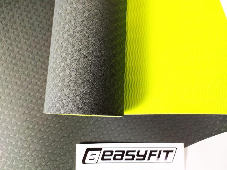 Килимок для йоги EasyFit ECO-Friendly TPE+TC 8 мм Чорний/Зелений (EF-TPE8BkGr) - фото 2