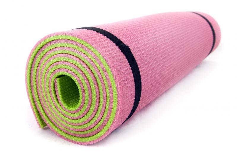Килимок для йоги та фітнесу OSPORT FI-0083 Спорт 8 мм Рожево-салатовий - фото 1