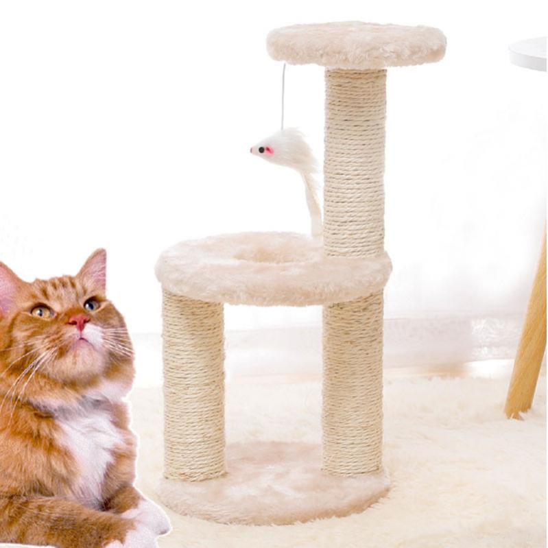 Кігтеточка для кота з полицями і іграшкою Taotaopets 0072203 41x20x18,5 см Beige - фото 2