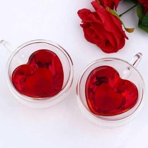 Набор чашек Ardesto Сердце 2 шт 300 мл с ручками и двойными стенками (AR2630GHL) - фото 3
